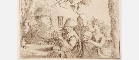 Anónimo. Seguidor de Lucas van Leyden (Leiden 1494-1533). Las edades del hombre y la Muerte (Familia sorprendida por la Muerte). Buril , 1523 ?. 100x135 mm