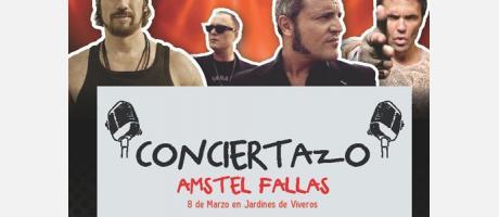 Imágen del cartel del Concierto de Fallas Cadena 100 con Macaco, M-clan y Robert Rodriguez