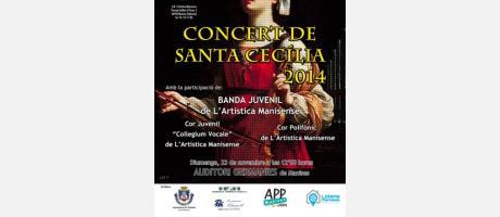 Cartel anunciador con imagen de Santa Cecilia.