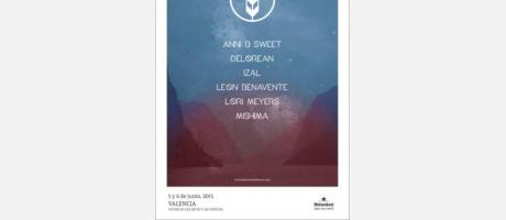 Cartel oficial del festival de les Arts en tonos azul y rosado