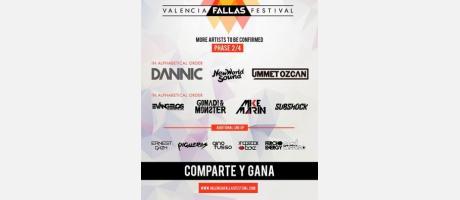 Cartel de Valencia Fallas Festival en blanco