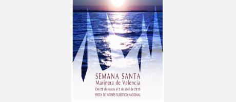Cartel anunciador de la semana santa. Al fondo el mar y capuchinos en relieve