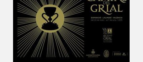 Cartel anunciador fondo negro figura del grial con resplandor dorado