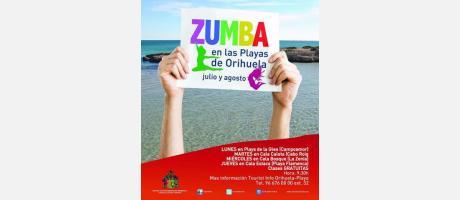 Cartel zumba en playas de Orihuela