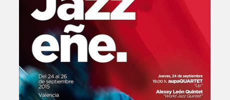Cartel de Jazzeñe, sobre fondo rojo y negro