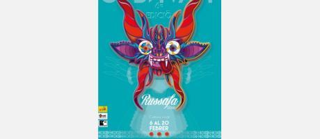 Cartel Carnaval Russafa con la imagen de una máscara típica