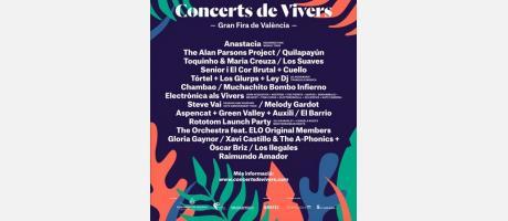 Cartel de Conciertos en Viveros con nombre de artistas: Anastacia, Chambao...