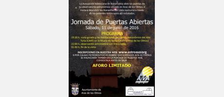 Carel explicativo de la Jornada De Puertas Abiertas que se celebrará en Aras