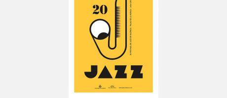 Cartel del Festival de Jazz con un saxofón y fondo amarillo