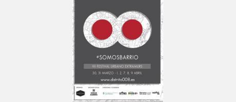 Imagen del festival Distrito 008 en tonos grises y rojo y un ocho tumbado