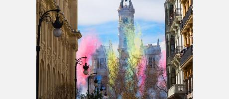 Fallas 2019, mascletà color València