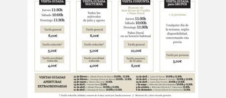 Horarios y tarifas de las visitas y además horario de visitas nocturnas