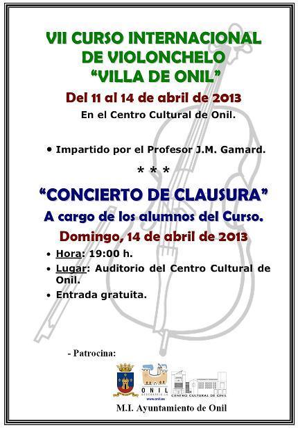 """VII CURSO INTERNACIONAL DE VIOLONCELO """"VILLA DE ONIL"""""""