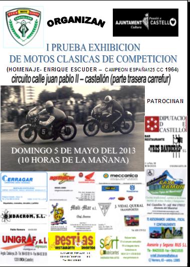 Prueba Exhibición de Motos Clásicas de Competición en Castellón