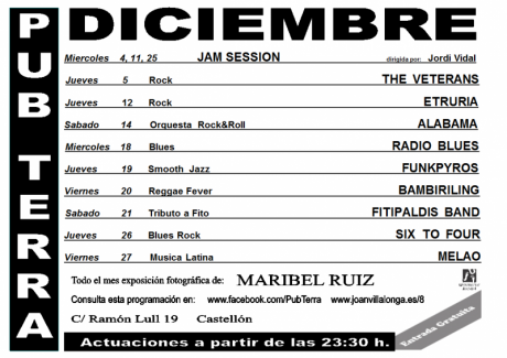 Programación de diciembre del 'Pub Terra' Castellón