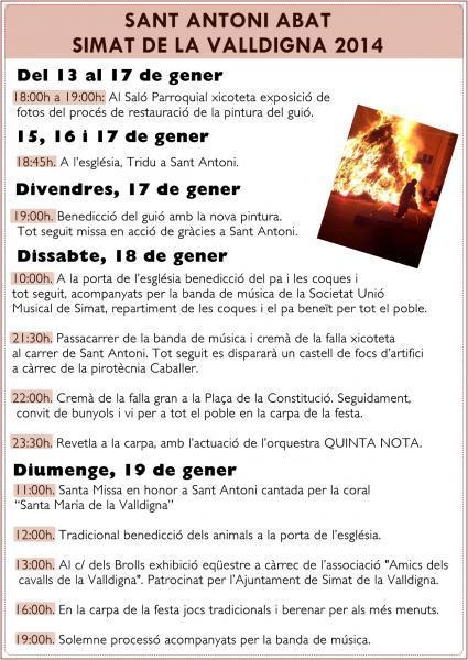 Programa de actos en honor a Sant Antoni Abat. Simat de la Valldigna 2014