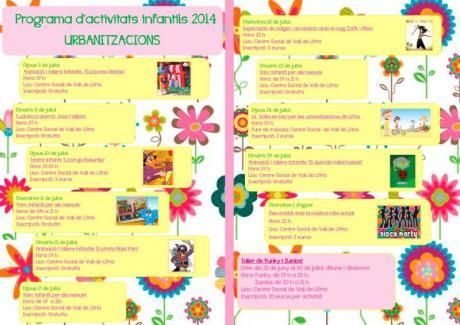 Programa de actividades infantiles verano 2014 en Llíria