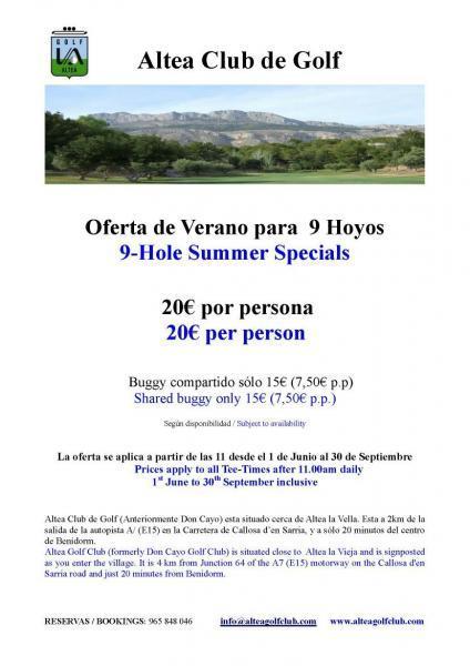 Altea Club de Golf - Oferta Verano para 9 Hoyos