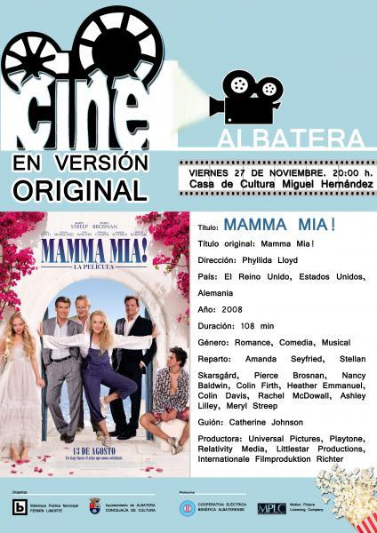 """CINEFORUM """"MAMMA MÍA"""" EN VERSIÓN ORIGINAL"""