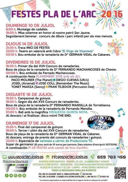 Fiestas del ''Pla de l'Arc'' en Vall d'Alba