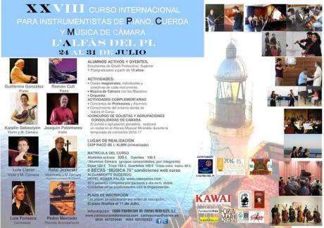 Conciertos XXVIII Curso Internacional para Instrumentistas de Piano, Cuerda y Música de Cámara de L'Alfàs del Pí
