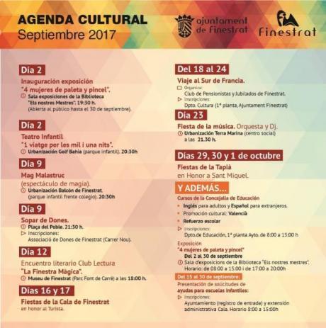 Agenda Cultural Finestrat Septiembre 2017.