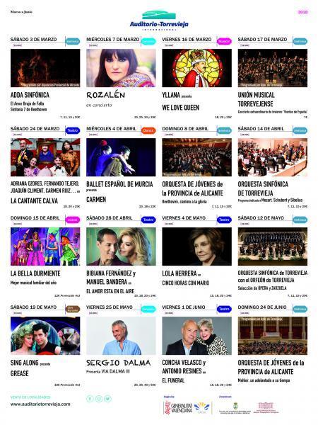 Programación Auditorio Torrevieja. Desde Marzo a Junio de 2018