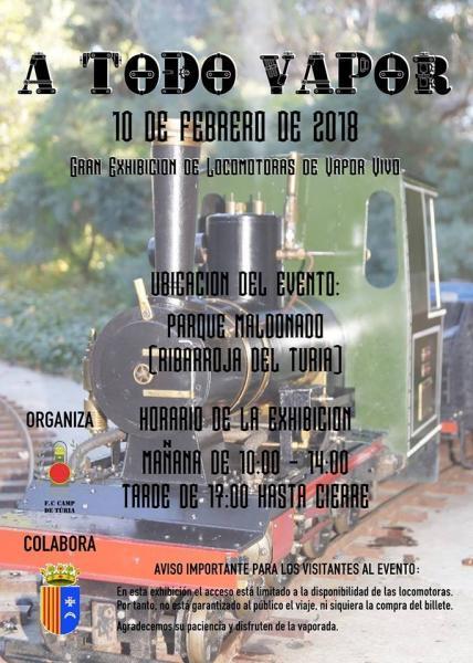 Gran exhibición de locomotoras de vapor en el Centro Ferroviario Camp de Túria