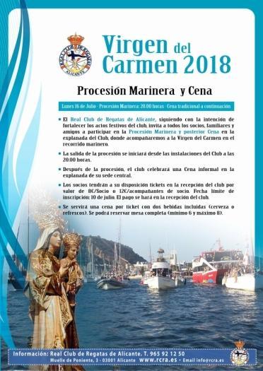 Procesión marinera Virgen del Carmen. Real Club Náutico de Alicante.