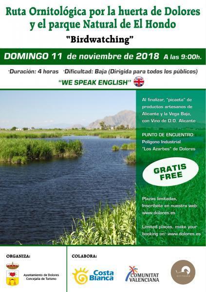 """Ruta Ornitológica por la Huerta de Dolores y el Parque Natural """"El Hondo"""""""