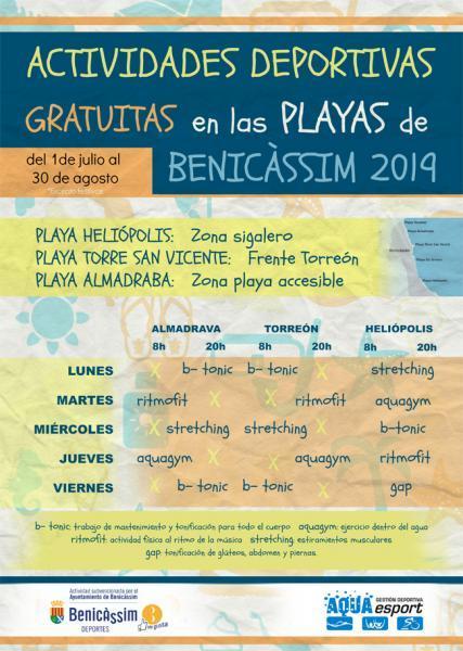 Actividades deportivas gratuitas playas de Benicàssim - Temporada 2019