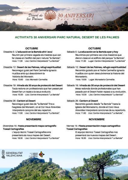 Actividades 30º Aniversario Parque Natural Desierto de las Palmas