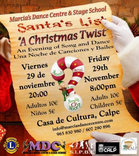 """SIPBE EN COLABORACIÓN CON MARCIA'S DANCE CENTRE PRESENTA """"A CHRISTMAS TWIST"""" A BENEFICIO DEL CLUB INTERNACIONAL DE LEONES DE CALPE Y BENISSA"""