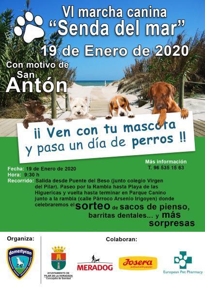 """VI Marcha canina """"Senda del mar"""" Con motivo de San Antón (Patrón de los animales) en Pilar de la Horadada 2020"""